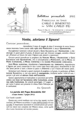 Bollettino Parrocchiale 2013/2