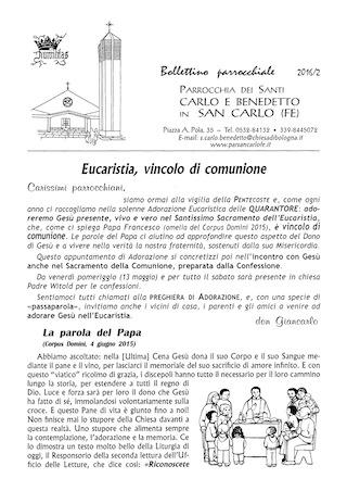 Bollettino Parrocchiale 2016/2